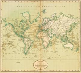 World. 1811 Cary, John, ca. 1754-1835. A new chart of the world, on Mercator's projections. Exhib...